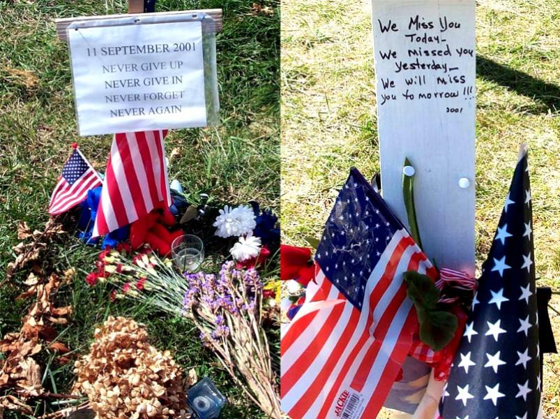 Department of Defense Photos: 'Never give up. Never give in. Never forget. Never again.' 'We miss you today. We missed you yesterday. We will miss you tomorrow,'...On posters left at a memorial created near the Pentagon to honor those killed in the terrorist attack there Sept. 11, 2001. Photos by Rudi Williams.