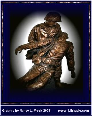 National Naval Medical Center, Bethesda, Md., (Aug. 19, 2003) -- The bronze colored statue, depicting the bond between Navy hospital corpsmen and U.S. Marines, stands in the main lobby at the National Naval Medical Center in Bethesda, Maryland. Graphic designed by Nancy L. Meek, using a U.S. Navy photo by Chief Warrant Officer Seth Rossman.