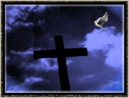 Cross in sky with dove