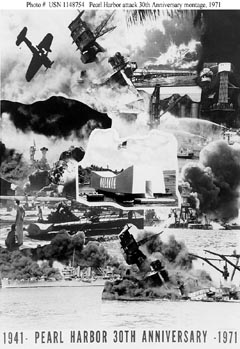 Pearl Harbor Attack, 7 December 1941; Photographic montage prepared for the 30th anniversary of the attack, 7 December 1971. It is accompanied by a poem by JO3 Jim Deken, USN