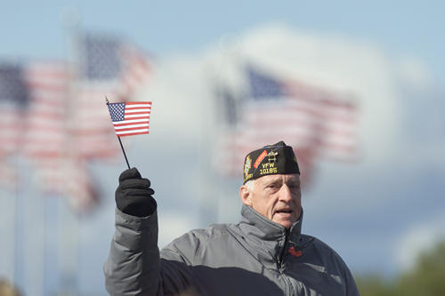 A retired United States Marine waves a flag at a 'Support Our Troops' rally in Liberty Park, N.J. USAF photo by Scott H. Spitzer